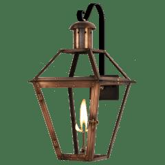 "Georgetown 18"" Farmhouse Hook Wall Lantern in Antique Copper, Gas"