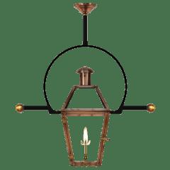 "Georgetown 20"" Classic Yoke Ladder Rest Ceiling Lantern in Antique Copper, Gas"