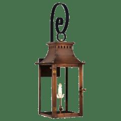 """Market Street 21"""" Top Scroll Wall Lantern in Antique Copper, Gas"""