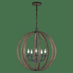 Allier Medium Pendant Weathered Oak Wood / Antique Forged Iron