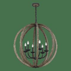 Allier Large Pendant Weathered Oak Wood / Antique Forged Iron