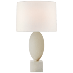 Versa Large Table Lamp in Alabaster with Linen Shade