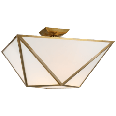 Lorino Large Semi-Flush Mount in Hand-Rubbed Antique Brass with White Glass