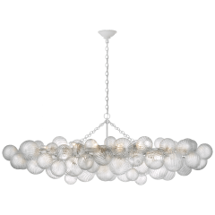 Talia Large Linear Chandelier in Plaster White with Clear Swirled Glass