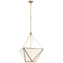 Lorino Large Lantern in Hand-Rubbed Antique Brass with White Glass
