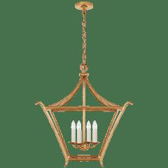 Aria Medium Square Lantern in Antique Gold Leaf