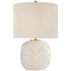 Parkwood Medium Table Lamp in Natural Bisque and New White with Linen Shade