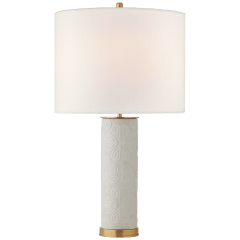 Clary Large Table Lamp in New White with Linen Shade