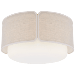 Eyre Large Flush Mount in Soft Brass and Soft White Glass with Natural Linen with Cream Trimmed Shade