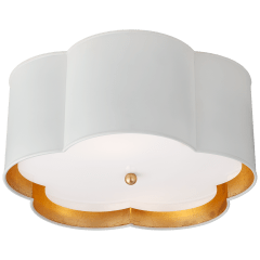 Bryce Medium Flush Mount in White and Gild with Frosted Acrylic Diffuser