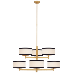 Walker Medium Two Tier Chandelier in Gild with Cream Linen Shades with Black Linen Trim
