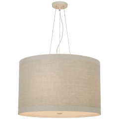 Walker Medium Hanging Shade in Light Cream with Natural Linen Shade