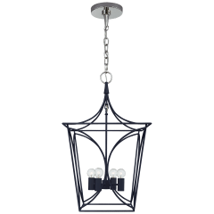 Cavanagh Small Lantern in French Navy and Polished Nickel