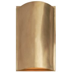 Avant Small Curve Sconce in Antique-Burnished Brass with Frosted Glass