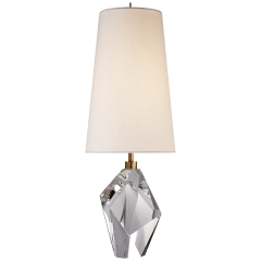 Halcyon Accent Table Lamp in Crystal with Linen Shade