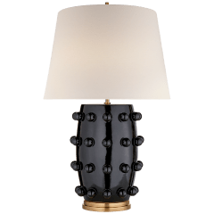 Linden Medium Lamp in Black with Linen Shade