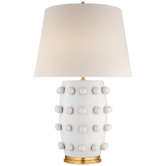 Linden Medium Lamp in Plaster White with Linen Shade