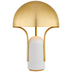 Affinity Medium Dome Table Lamp in White Marble with Antique-Burnished Brass Shade