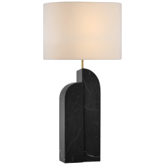 Savoye Left Table Lamp in Black Marble with Linen Shade