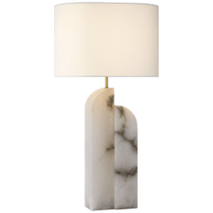 Savoye Large Right Table Lamp in Alabaster with Linen Shade