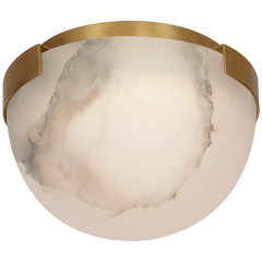 "Melange 5"" Solitaire Flush Mount in Antique-Burnished Brass with Alabaster Shade"