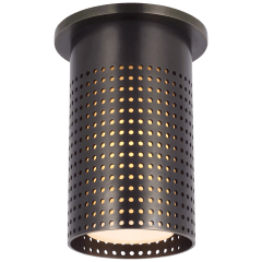 Precision Short Monopoint Flush Mount in Bronze with White Glass