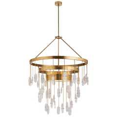 Halcyon Large Three Tier Chandelier in Antique-Burnished Brass with Quartz
