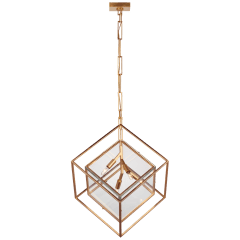 Cubed Large Pendant in Gild with Clear Glass