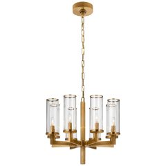 Liaison Single Tier Chandelier in Antique-Burnished Brass with Clear Glass