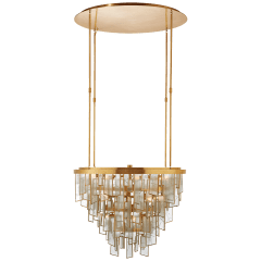 Ardent Medium Waterfall Chandelier in Antique-Burnished Brass with Fractured Glass Trim