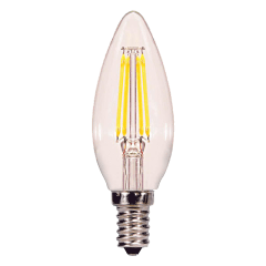 3.5W C11 Clear LED Dimmable E12 2700K 350lm 120V Candelabra Base