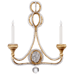 Milan Double Sconce in Venetian Gold with Crystal