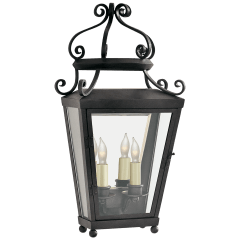 Lafayette Medium 1/2 Wall Lantern in French Rust with Clear Glass