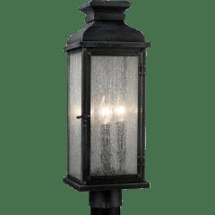 Pediment Post Lantern Dark Weathered Zinc