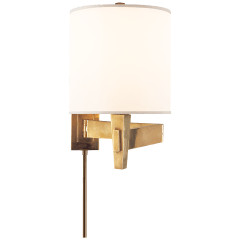 Architect's Swing Arm in Hand-Rubbed Antique Brass with Silk Shade