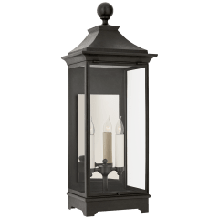 Rosedale Medium 3/4 Wall Lantern in French Rust with Clear Glass