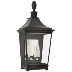 Rosedale Classic Large 3/4 Wall Lantern in French Rust with Clear Glass