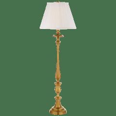 Darien Floor Lamp in Natural Brass with Silk Shade