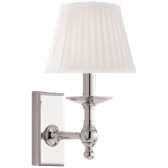 Payson Sconce in Polished Nickel with Silk Shade