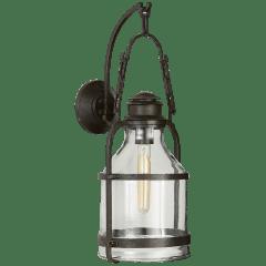 Cheyenne Medium Lantern in Aged Iron with Clear Glass
