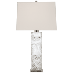 Ellis Table Lamp in Polished Nickel and Quartz with Percale Shade
