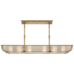 Perry Medium Linear Pendant in Natural Brass and Glass Rods with White Glass