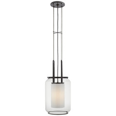Upton Large Lantern in Bronze with Clear and White Glass