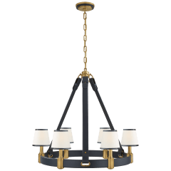Riley Medium Ring Chandelier in Natural Brass and Navy Leather with Leather Trimmed Linen Shades