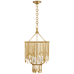 Kayla Small Sculpted Chandelier in Natural Brass with Alabaster