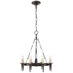 Branson Small One-Tier Ring Torch Chandelier in Aged Iron