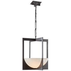 Michaela Small Wide Chandelier in Aged Iron and Alabaster