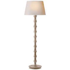 Bamboo Floor Lamp in Belgian White with Natural Paper Shade