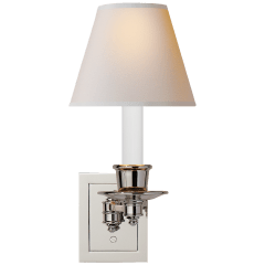 Single Swing Arm Sconce in Polished Nickel with Natural Paper Shade