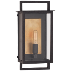 Halle Small Wall Lantern in Aged Iron and Clear Glass